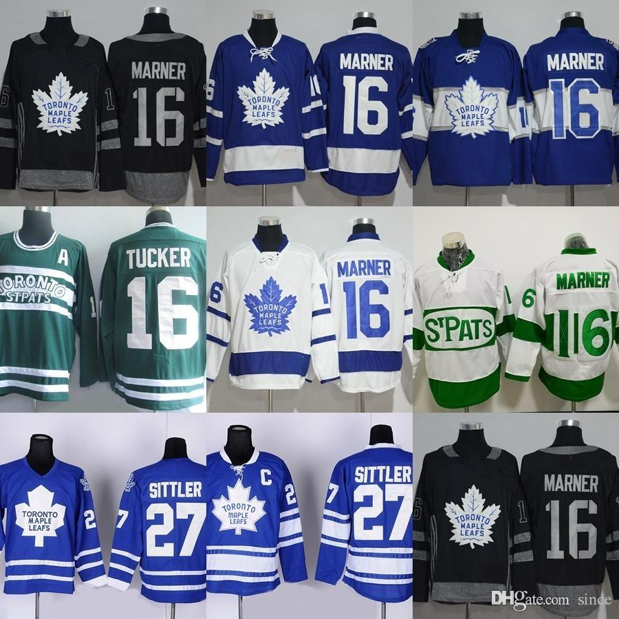 2019 Factory Outlet Men S Toronto Maple Leafs  16 Marner  16 Tucker  27  Sittler Blue White Green Black New Cheap Ice Hockey Jerseys From Since 14e7b910f