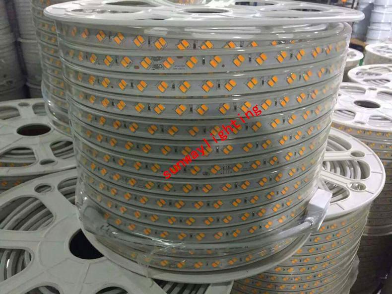 50m 110v 220v double rangée smd 5630 5730 3014 2835 led bandes fita led bande lumière imperméable ruban flexible ruban corde blanc / blanc chaud