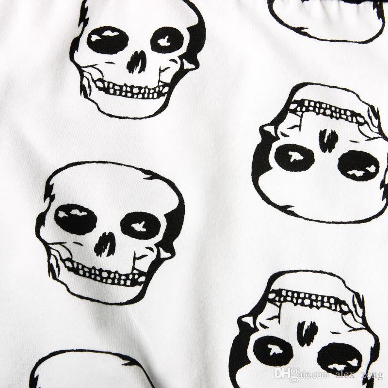2017 Conjunto de Roupas Bebê Recém-nascido Menina Do Menino Do Dia Das Bruxas Crânio Bodysuit Macacão + Calças Compridas + Chapéu Outfit Outono Inverno 4 Peça Set