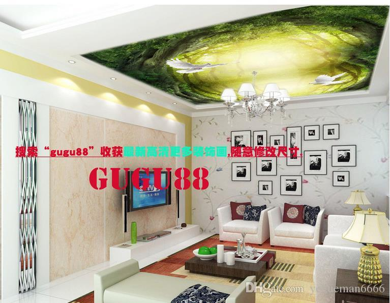 3D потолочные обои для стен спальни пользовательские 3d обои для потолков лес летающий Голубь 3D потолочные обои для гостиной