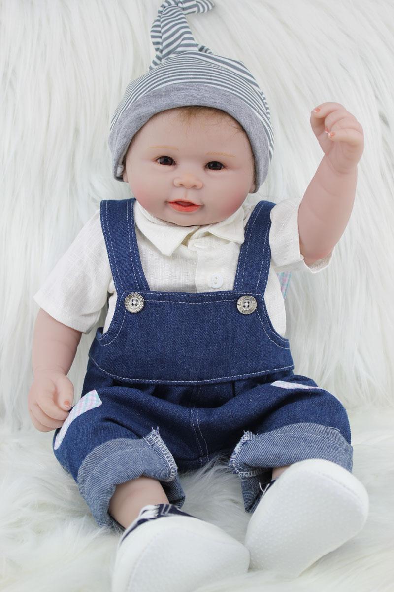 55cm Full Silicone Reborn Boy Baby Doll Toys Realistic Vinyl Newborn ...