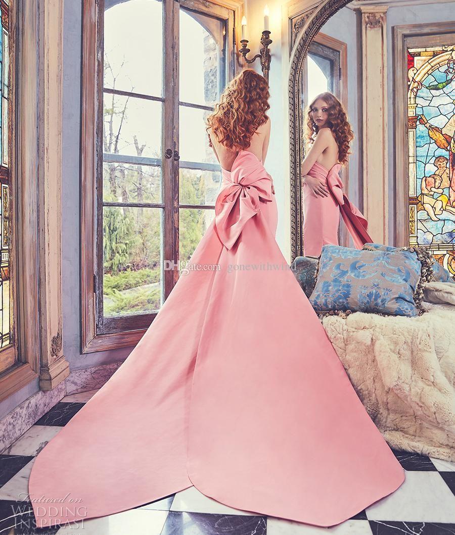 Compre Vestidos De Boda De La Sirena Del Tren Real Rosado Elegante ...