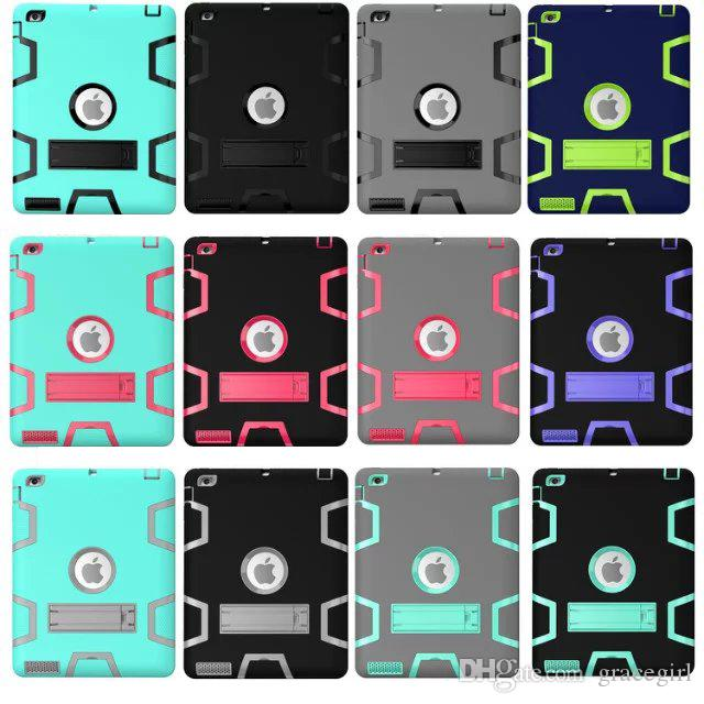 Stand Armor Hybrid Hard PC + Silicone Case 3 in 1 Shockproof Heavy Duty Defender For Ipad Mini 1 2 3 4 Air 2 Ipad6 Tablet Skin Cover Luxury