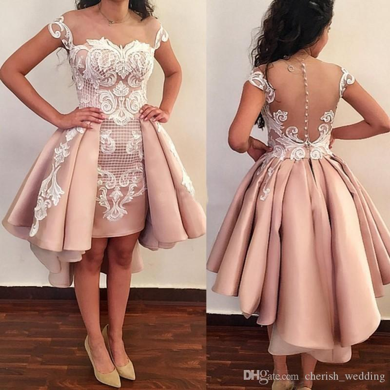 Sheer Neck Sheath Prom Dresses High Low Lace Appliqued Dress Evening