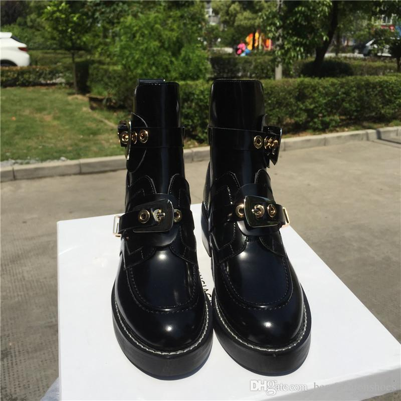 Blogger Favorite Black Cut Out Woman Motorcycle Boots Riding Shoes Low Heel Leather Military Style Buckle Strap Ankle Motorcycle Boots Shoes