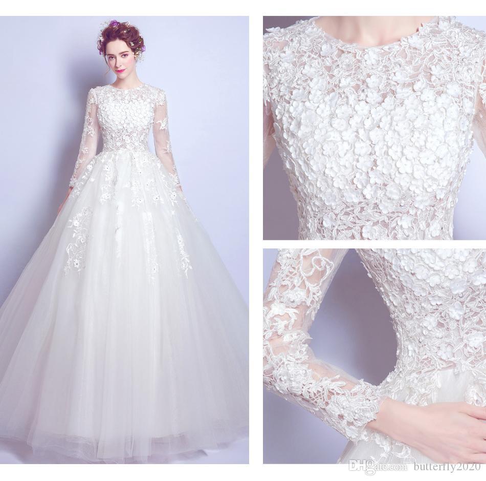 Großhandel Luxuriöse Und Romantische Weiße Brautkleider Spitze ...
