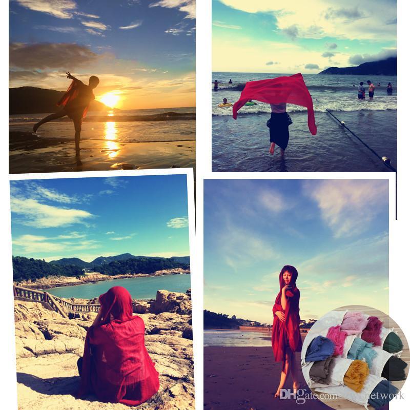 23 cores Sarongs Praia Cachecóis À Prova de Vento lenço de Algodão Cobertor de Praia Moda Casual Rodada Biquíni Ups Beachwear Turbante Com saco de armazenamento