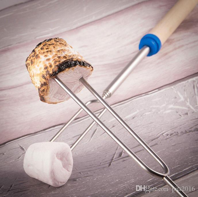 100 stücke Edelstahl Teleskop Braten Sticks mit Holzgriff Marshmallow Sticks Braten Gabeln Beutel BBQ gabeln