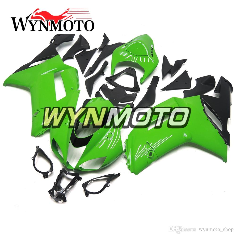 Motorcycle Fairings Complete Hull for Kawasaki ZX-6R ZX6R 2007 2008 07 08  ABS Plastics Injection Frames Green Black Panels Hulls