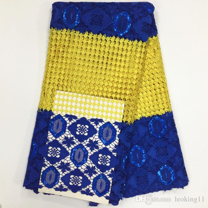 5 Y/pc Popular yellow embroidery african water soluble cord lace and blue sequins french guipure lace fabric for dress BW114-5