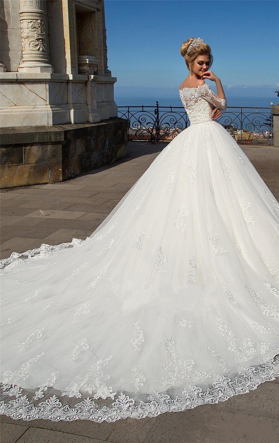 Großhandel Elegante Weiße Spitze Ballkleid Brautkleider Mit Ärmeln ...