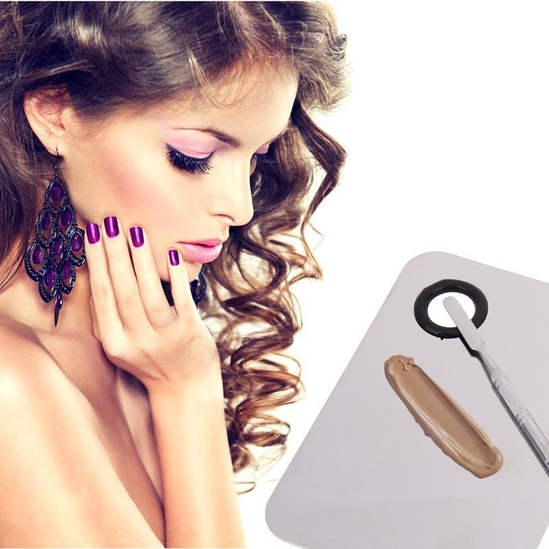 Nueva paleta de sombra de ojos de sombra de ojos Mezclador de maquillaje de acero inoxidable Placa de mezcla de base de esmalte de uñas