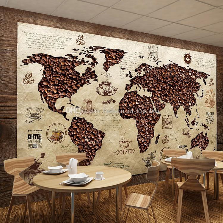 Coffee Wallpaper Custom 3d World Map Wall Mural Hd Image Photo Wallpaper  Coffee Shop Restaurant Tv Backdrop Bedroom Coffee Beans Room Decor  Widescreen ... Part 73