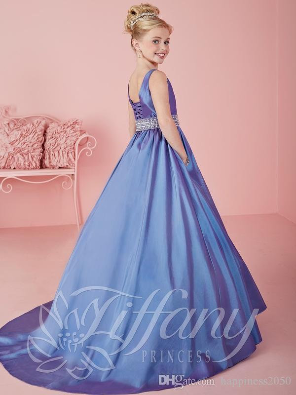 Pretty Purple Taft Scoop Perlen Blumenmädchenkleider Prinzessin Pageant Kleider Mädchen Party Kleider Nach Maß 2-14 F525074