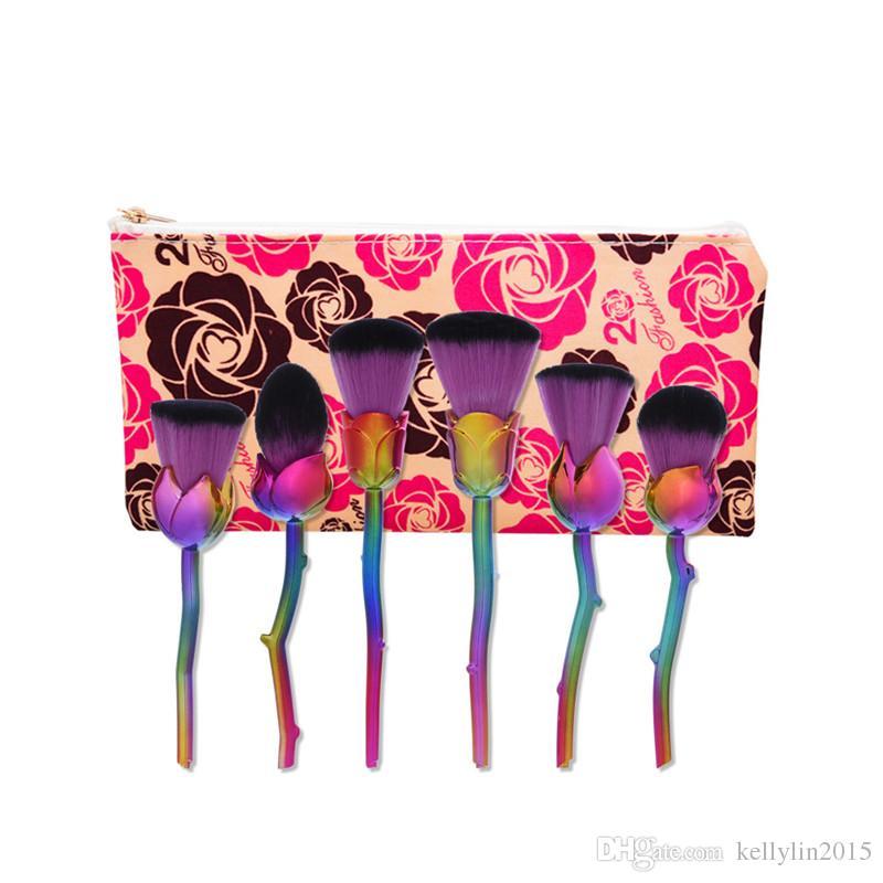 Rose Flower Makeup Brushes Set Cosmetic kit Contour Face Powder Eyeshadow Brush 3D Lover's Multipurpose Make up Brushes with bag