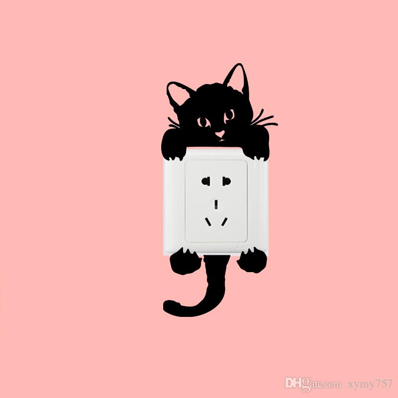 2017 Hot Sale Personality Sale Only 13 Left Kitty Cat Baby Light Switch Funny Wall Decal Vinyl Stickers Creative Jdm