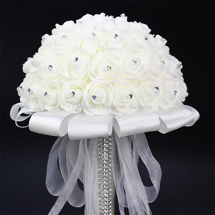 White Bride Holding Bouquet Artificial Rose White Ribbon