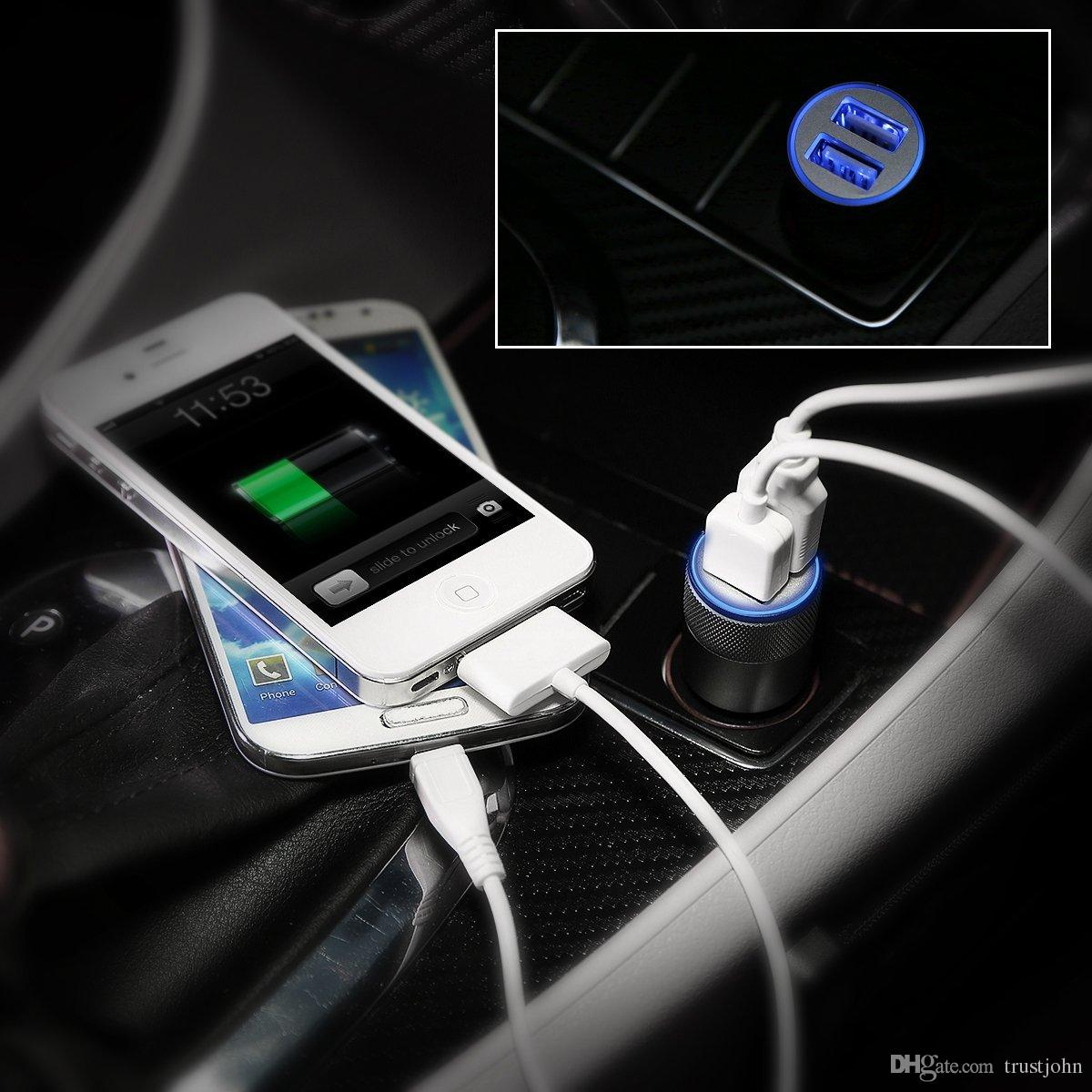 Factory direct !!! High quality Dual usb ports blue light small steel gun car charger for mobile phone factory price