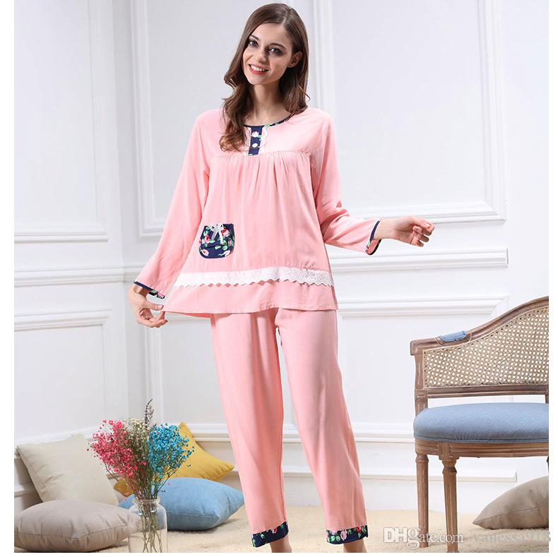 5d055efb40 2019 Sexy Lingerie For Women Silk Pyjamas Sleepwear Cotton Girls Nightgowns  Long Sleeve Round Neck Pajama Sets Pajamas Woman SJYT71 From Vanessa918