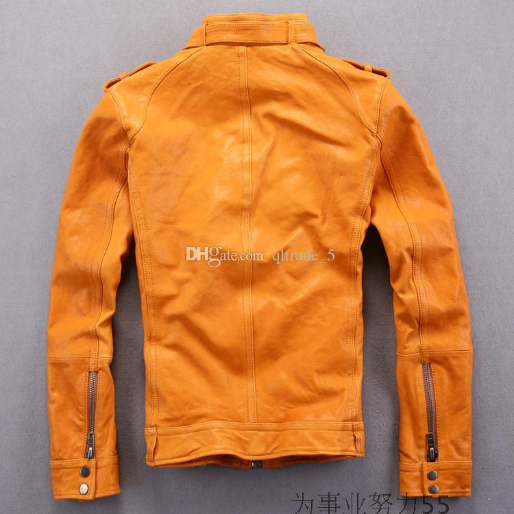 i AVIREX FLY Flocking giacche in vera pelle colletto slim fit giubbotto da moto locomotiva Epaulet