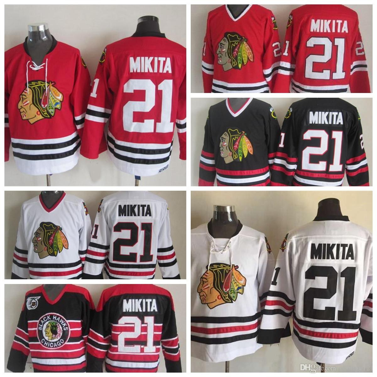7bc1142f ... aliexpress throwback chicago blackhawks jerseys 21 stan mikita jerseys  home red white vintage and 75th anniversary