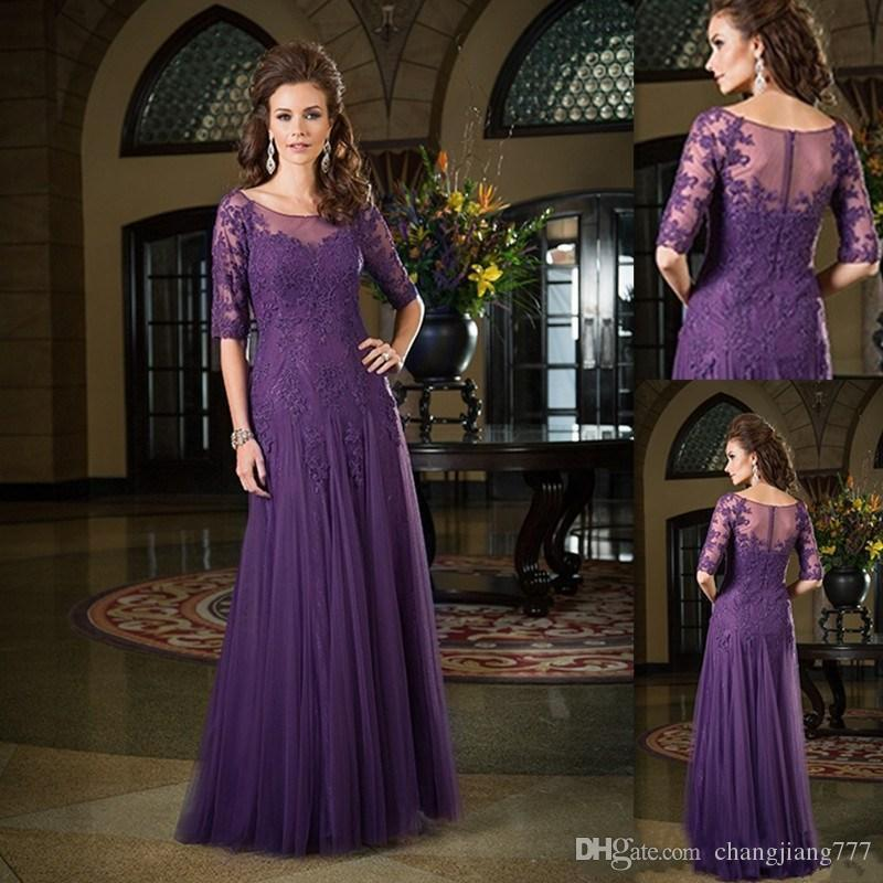 Vestidos de novia de la madre 2017 Classic Half mangas vestido de púrpura oscuro del novio Tulle Applique de encaje Sheer Neck largo de la boda ...