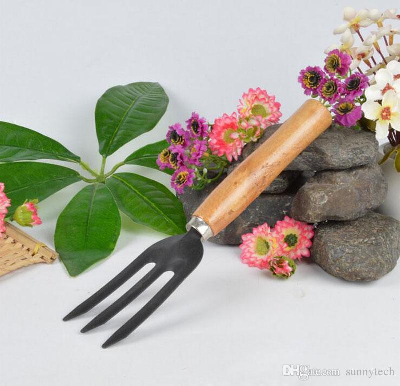 Mini Sharp Shovel Rake Wooden Handle Iron Head Plant Tool Set Reinforced Gardening Round Mini Garden Tools ZA2597