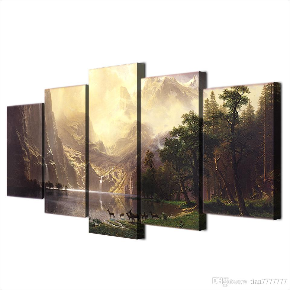 Mountain Lake Tree deer Beautiful Landscape oil Painting Unframed Modern Canvas Print Wall Art Room Poster Picture Home decor