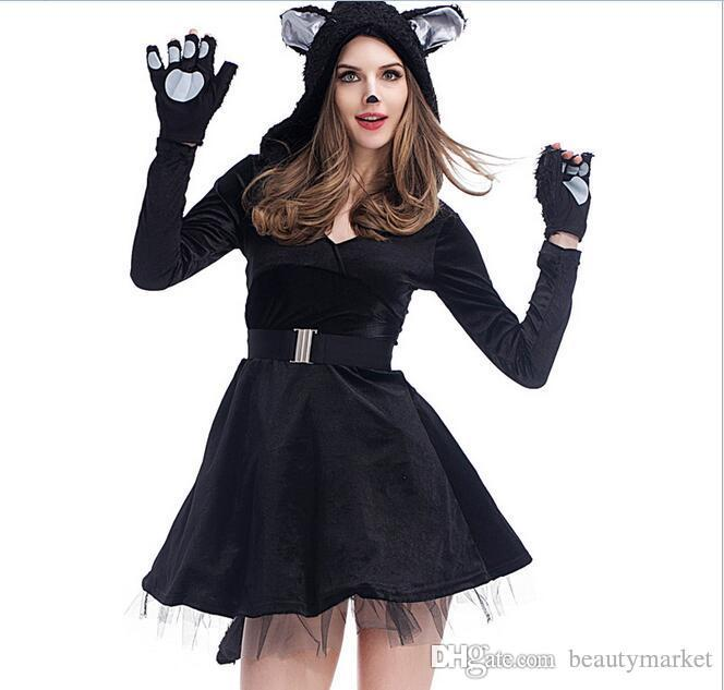 New Sexy Black Cat Skirt Dress Cosplay Party Costume Adult Halloween Luxury Adult Deluxe Furry Panda Costume Psxy1713 Halloween Masks Baby Costumes From ...  sc 1 st  DHgate.com & New Sexy Black Cat Skirt Dress Cosplay Party Costume Adult Halloween ...