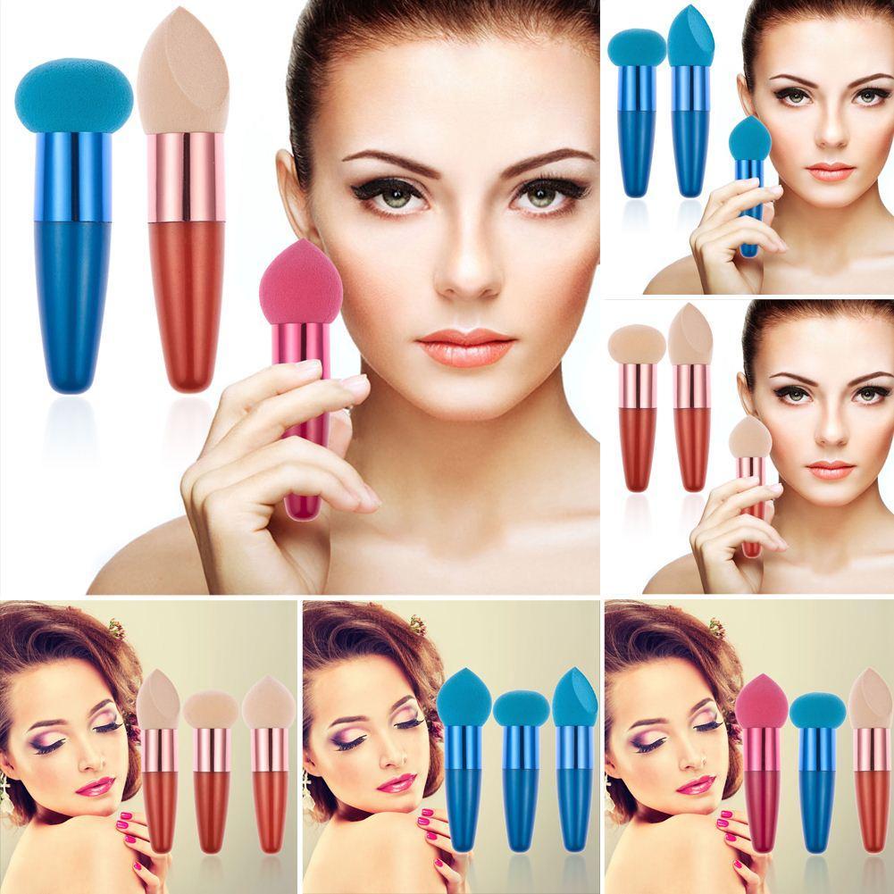 3 Teile / los Make-Up Schwamm Foundation Schwämme Cosmetic Puff mit griff Für Nasses trockenes pulver Makeup foundation Puff esponja maquiagem