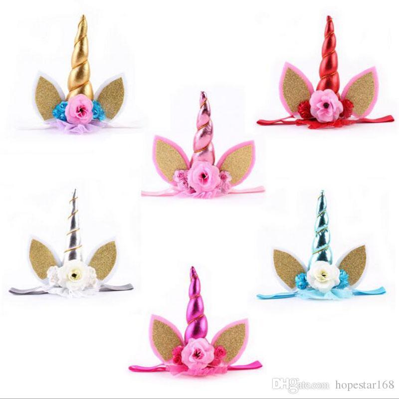 Grosshandel Neue Baby Unicorn Party Stirnbander Einhorn Gaze Blume