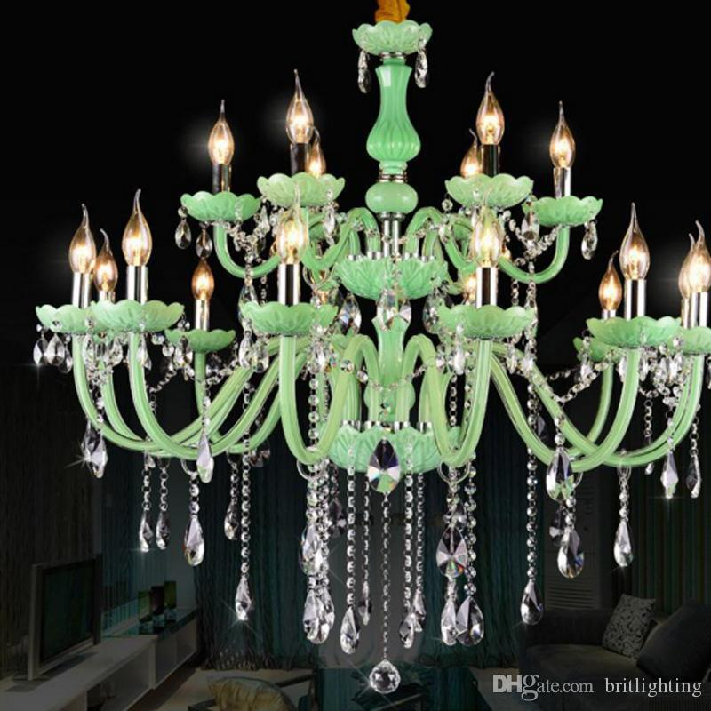 Green Crystal Chandelier Light Living Room Led Crystal Lustre ...