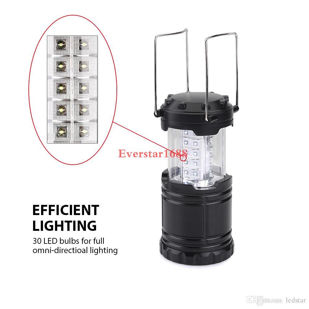Lámpara de camping LED linterna plegable al aire libre linternas de emergencia portátil negro plegable para senderismo Camping Halloween Navidad