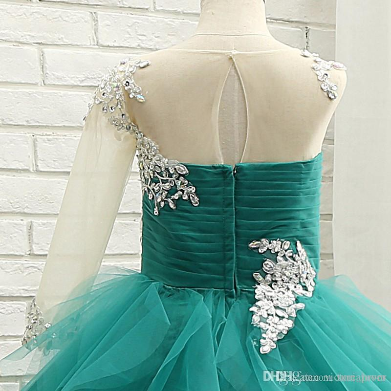 Tulle Turquoise Ball Gown Little Girls Pageant Abiti 2017 con una spalla maniche lunghe Ruffles Tulle Princess Litrle Girls Formal Party