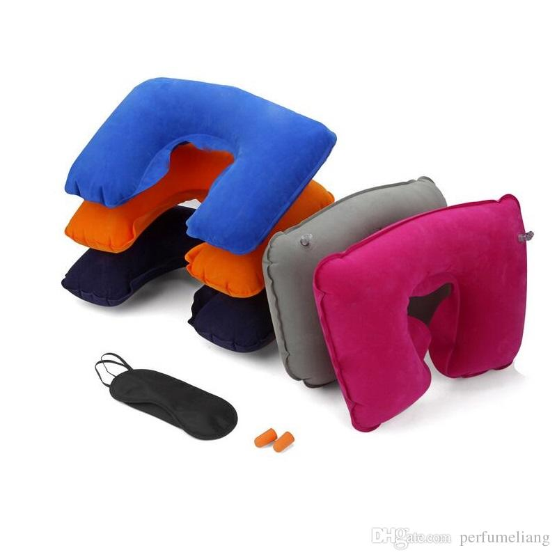 3 in1 Travel U-shaped Pillow Flocking Inflatable Neck Air Cushion Pillow Eyeshade with Ear Plug Advertising Gifts ZA3927