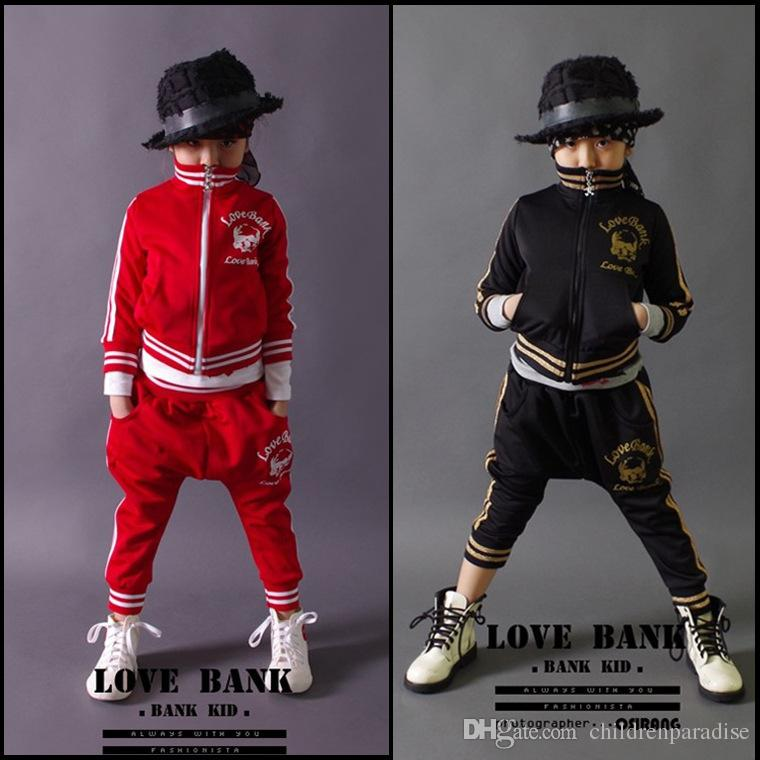 Brand Baby Boys Clothes Set Red Black Hip Hop Kids Sportwear Clothing Set Cotton Children Tracksuits 3 4 6 8 10 12 14 Years