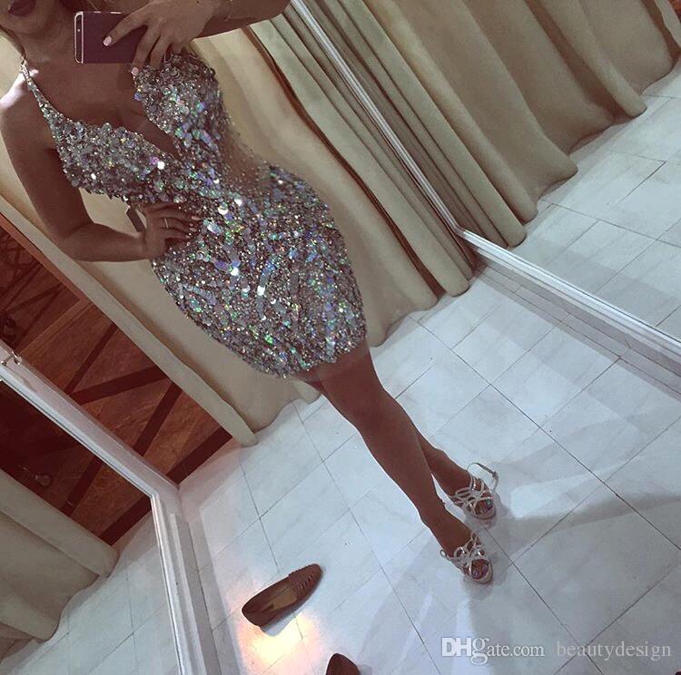 2019 Nuevo Diseño Glitz Bling Lentejuelas Cristales Mini Vestidos de Cóctel Cortos 2017 Plunging Halter escote Homecoming Prom vestidos de fiesta BA4317