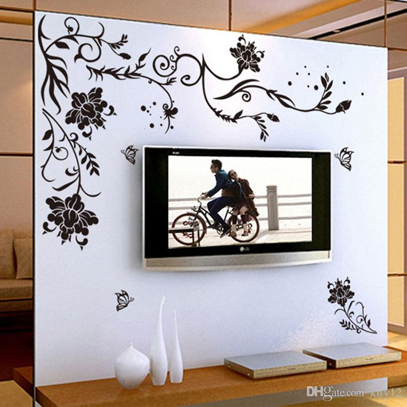 Black Flower Vine Wall Stickers Home Decor Large Paper Flowers Living Room Bedroom Sticker Wallpaper Decoration Decals