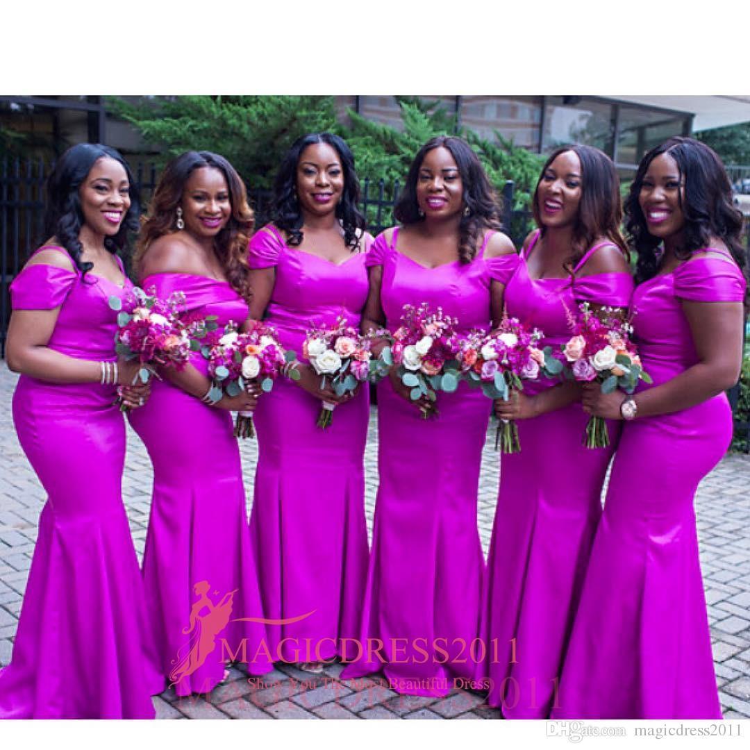 2019 Muhteşem Nijerya Brezilya Gelinlik Modelleri Mermaid Off-Omuz Fuşya Plaj Vintage Düğün Konuk Törenlerinde Parti Onur Hizmetçi Elbise