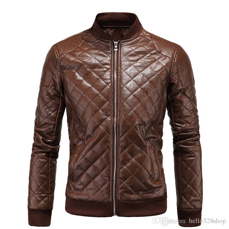 Inverno Nova Chegada Dos Homens Rhombus PU Jaquetas De Couro Britânico Estilo Motocicleta Gola Outerwear Moda Jaqueta para Homens