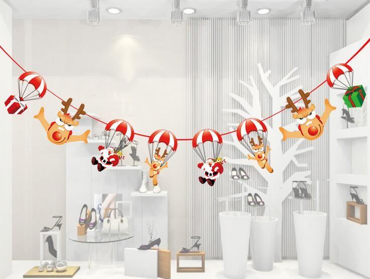 Papier-Zugmarkierungsfahnenkarikaturflaggen-Atmosphärenplan-Hoteleinkaufsmalldekorationen BF010 der Weihnachtsdekorationen mischen Auftrag