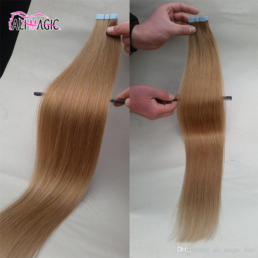 2021 Yeni Bant Saç Uzantıları Bakire Perulu Saç Bant Insan Saç Uzantıları Remy 40 Adet Düz 18''20''22''24'Skin Atkı Ucuz