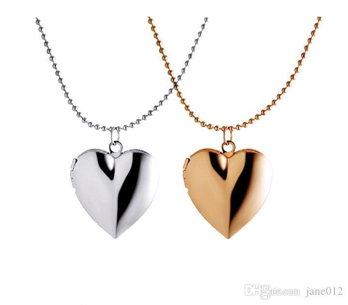Photo Locket Floating Locket Necklaces Gold Plated Blank Smooth Surface Beads Chain Heart Pendant Jewelry