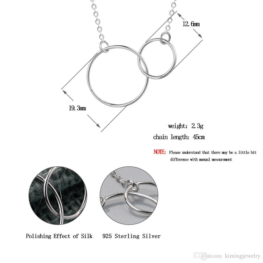 Casual Double Circle Necklace 925 Sterling Silver Accesories Mujer Initial Eternity Interlocking Hoop Infinity Pendant