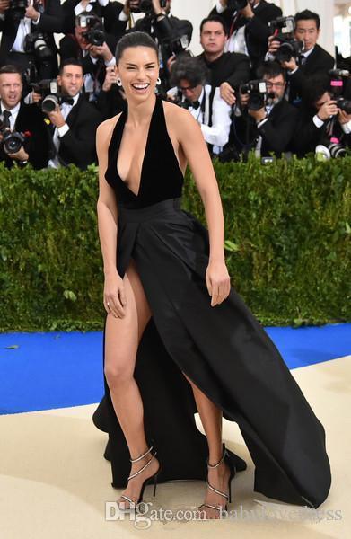 Halter dalma yaka seksi ünlü kırmızı halı abiye aç geri yüksek yan bölünmüş resmi parti uzun siyah gelinlik modelleri