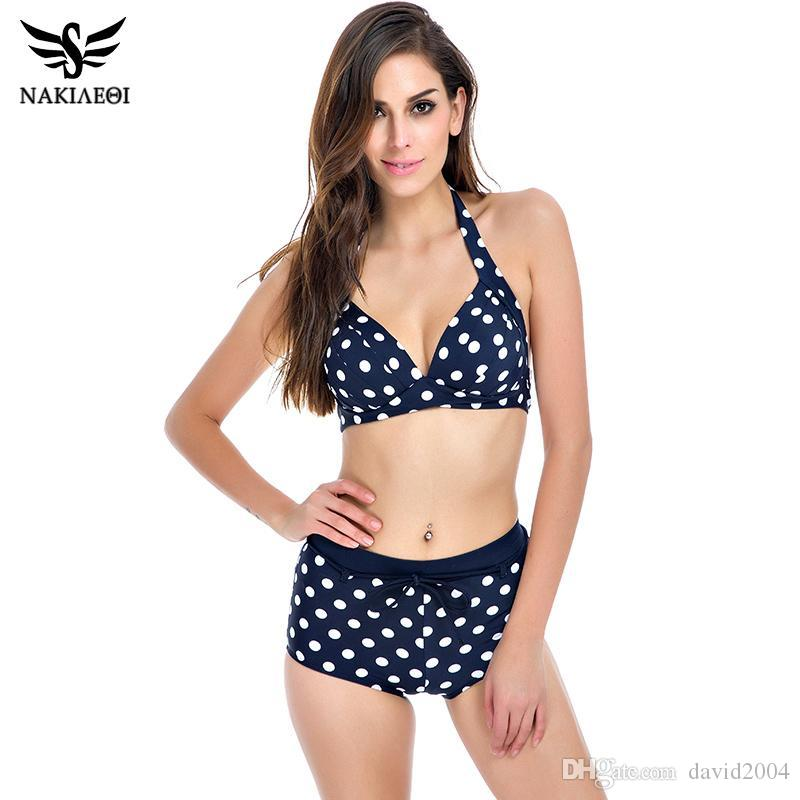NAKIAEOI 2016 New Bikini Women Swimsuit Plus Size Swimwear High Waist Bathing Suit Push Up Bikini Set Beach Padded Dot Swim Wear