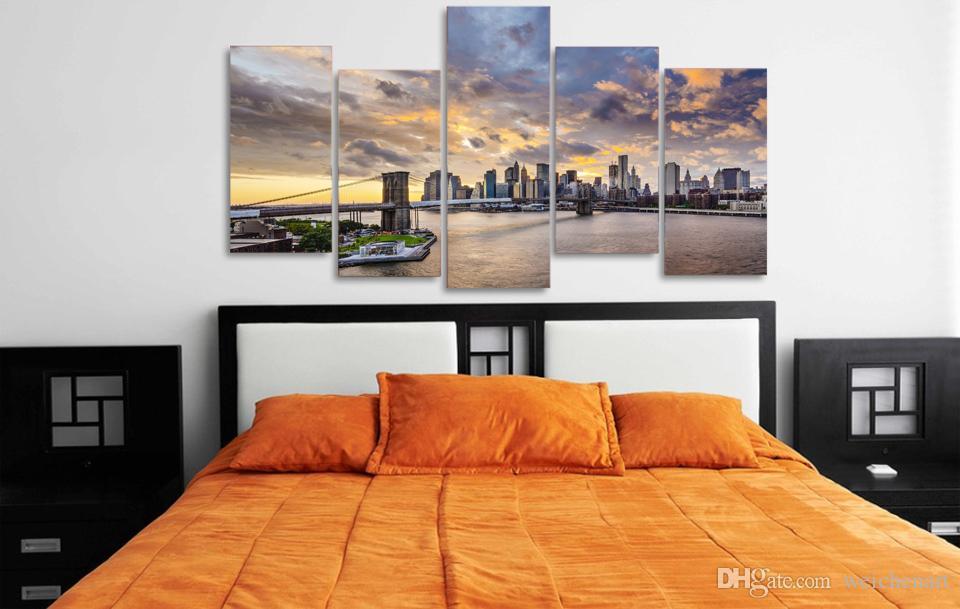 5 Paneli HD Baskılı Sunset London City Köprüsü Poster Grubu Poster Resim Tuval Wall Art Painting Baskı Odası Dekor Boyama