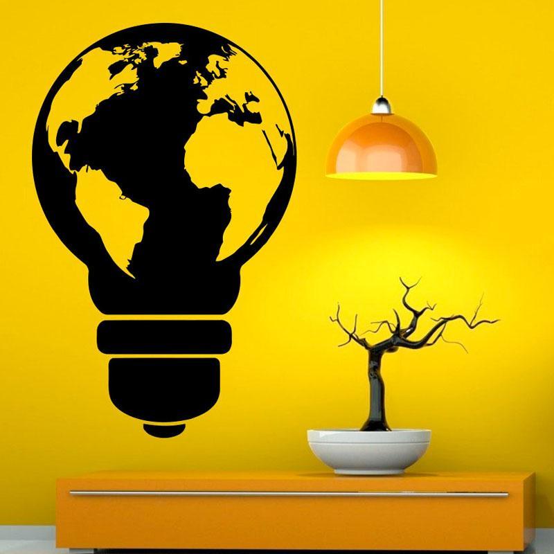 Design Light Bulb Wall Vinyl Decal Sticker World Map Art Wall ...