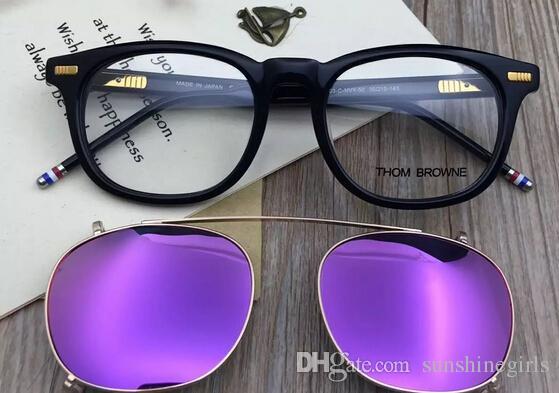 Hohe Qualität Marke Browne Mode TB403 Retro-Sonnenbrille Rahmen Clip Platte von flachen Spiegel polarisierte Sonnenbrille Frauen Männer mit Metall Auge Glas