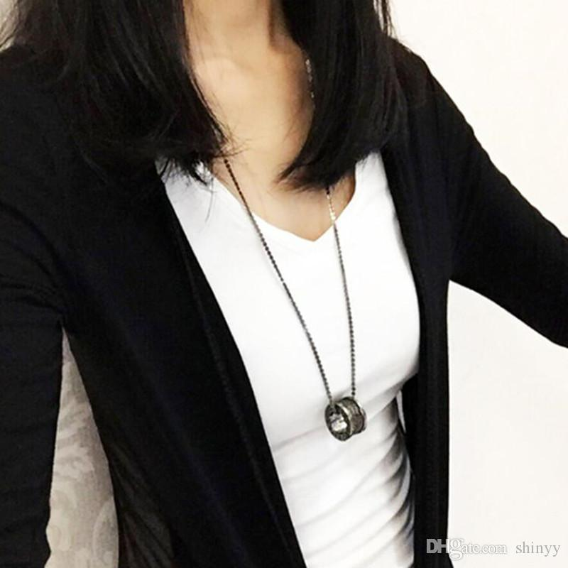 Fashion Lovers Necklace Jewelry Rhinestone Circle Pendant Necklace Silver Black Color Alloy Long Chain Necklaces Gift